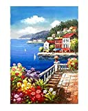 Wowdecor Art Wand Leinwand Modern Art Prints Bilder–Meer Berge Mediterrane Landschaft Bilder Gemälde auf Leinwand Gedruckt, Wanddekoration für Home Wohnzimmer Schlafzimmer–Gerahmt, Large