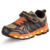 AFFINEST Kinder LED Light Up Sneakers Outdoor Sportschuhe Schnür Turnschuhe Laufschuhe Basketball Schuhe for Jungen Mädchen(Orange,34)