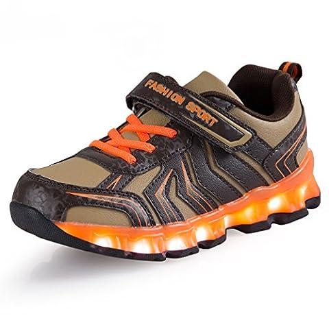 AFFINEST Kinder LED Light Up Sneakers Outdoor Sportschuhe Schnür Turnschuhe Laufschuhe Basketball Schuhe for Jungen (Der Golden Glow Of Christmas)