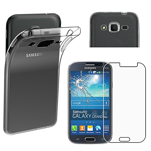 ebestStar - kompatibel Samsung Galaxy Grand Plus Hülle GT-i9060I, Grand Lite Handyhülle [Ultra Dünn], Klar Flex Silikon Schutzhülle, Transparent +Panzerglas Schutzfolie [Phone: 143 x77.1 x9.6mm 5.0']
