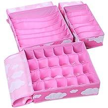Niyatree - (Set de 3) Cajas de Almacenaje Almacenamiento con Tapa Plegables Organizador de Accesorios Ropa Interior Bragas Corbatas Calcetines(24 celdas + 7 celdas + 6 celdas) - Rosa1