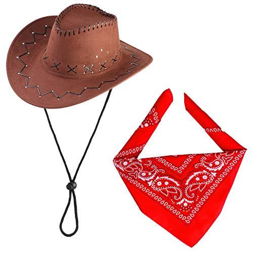 Cowboy Kostüm Zubehör Western - Beefunny Cowboy Hut und Paisley Bandana Wild Western Kostüm Zubehör Set Gr. 85, braun