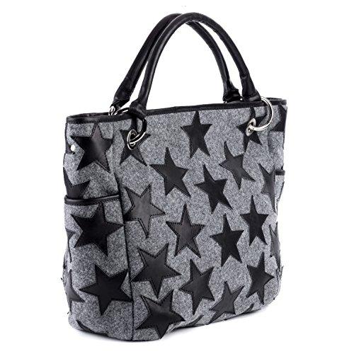 FEYNSINN Handtasche mit Langen Henkeln Leder Stars groß Henkeltasche Damen Schultertasche echte Ledertasche Damentasche schwarz