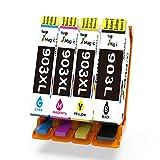 903XL HP Kompatibel, 7Magic Remanufactured HP 903 903XL mit Neuestem Chip Hoher Reichweite Tintenpatronen mit HP OfficeJet Pro 6950 6960 6970 All-in-One Drucker(1 Schwarz, 1 Blau, 1 Magenta, 1 Gelb)
