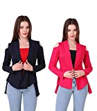 #6: Kiba Retail Women's Stylish Shrug COMBO New Collection Latest Design Trendy Cold-Shoulder Shrug For Women/Girls Solid color Full Sleeve Front Open Viscose Shrug (Color-Navy Blue_Pink) (Pack of 2)