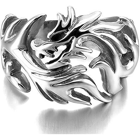 MunkiMix Grande Acciaio Inossidabile Anello Anelli Argento Drago Dragon Tribale Uomo - Mens Anello Del Drago