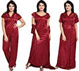 #10: Noty - Women's Satin Nighty - 4 Pc set- Nighty/Robe/Top/Bottoms (Maroon)