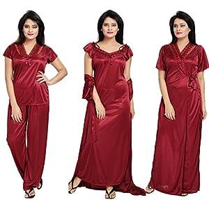 Notytm Women's Satin Nighty, Robe, Top, Night Dress – Set of 4(DN 43, Maroon, Free Size)