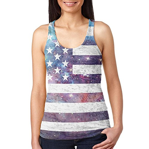 4. Juli Galaxy amerikanische Flagge USA Junioren Burnout Racerback Tank Top Multicoloured