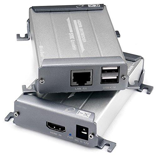 Treaslin KVM USB Switch, HDMI KVM Switch 4 Port USB Switcher unterstützt 1080p @ 60 Hz Nahtlose Steuerung bis zu 4 Computer/Mac/Server/DVR mit Audio Extraktor (TSV560 HDMI USB KVM Extender über IP)