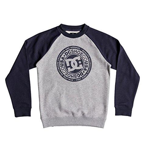 DC Shoes Jungen Fleece Circle Star Crew Sweatshirt, Black iris/Grey Heather, 14/L Dc-fleece-sweatshirt