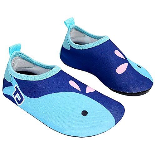 Sasairy Kinder Aqua Schuhe Anti-Rutsch Badeschuhe Wassersport Strandschuhe Unisex Blau