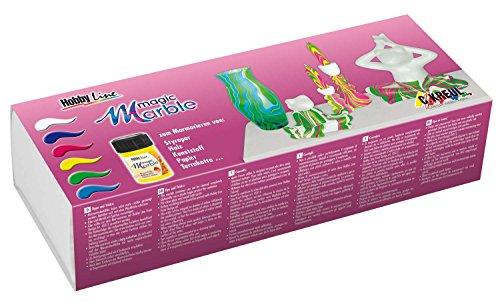 Kreul 73612 - Magic Marble Marmorierfarbe Set Swing Style, zum Tauchmarmorieren von Holz, Glas, Kunststoff, Papier und Styropor, 6 x 20 ml Farbe in farblos, violett, grün, blau, neonpink und -gelb