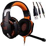 UrChoiceLtd® KingTop EACH G2000 Über Ohr Stereo Gaming Headset mit Mic Bass LED Licht Lautstärkeregelung für PS4 PC Handys Ohrhörer (Blue & Red & Orange) (Orange)