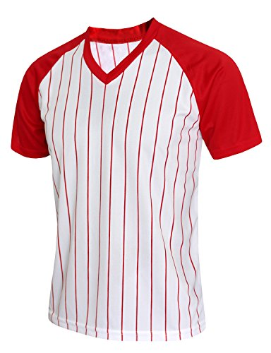 BCPOLO Herren Stripe V-Neck Shirt Sportlich Kurzarm T-Shirt Red