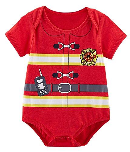 Feuerwehrmann Kostüm Halloween - Mombebe Baby Jungen Matrose Kostüm Bodys (Feuerwehrmann, 12-18 Monate)