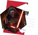 Procos 86218–Einladungskarten mit Umschlag Star Wars The Force Awakens, 6Stück, schwarz/rot