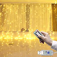 Baiwka Led Curtain Lights 3m X 3m,Fairy String Lights With 300 LEDs And 8 Modes Remote Control For Curtain Wedding Garden Patio Outdoor Indoor Party Christmas Garden Bedroom Decoration