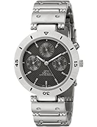 gino franco Men's 978GY Round Stainless Steel Multi-Function Bracelet Watch