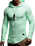 LEIF NELSON Herren Hoodie Pullover Kapuzenpullover T-Shirt Rundhals Ausschnitt Longsleeve Oversize Sweatshirt Hoody Sweatshirt Sweater LN8128 S-XXL; Größe L, Mint