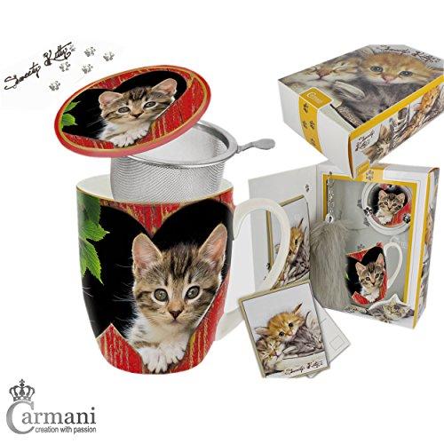 CARMANI - Sweety Kitty - Chaton imprimé Tasse 5 pieces avec baguette de queue de chat