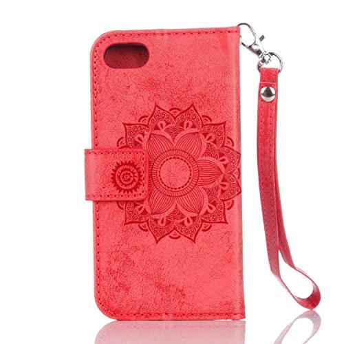 EKINHUI Case Cover Für IPhone 7 PU Ledertasche, Mandala Blume geprägtes Muster Schutzhülle Folio Flip Stand Brieftasche Case Beutel mit Lanyard & Halter & Card Cash Slots ( Color : Rose Gold ) Red