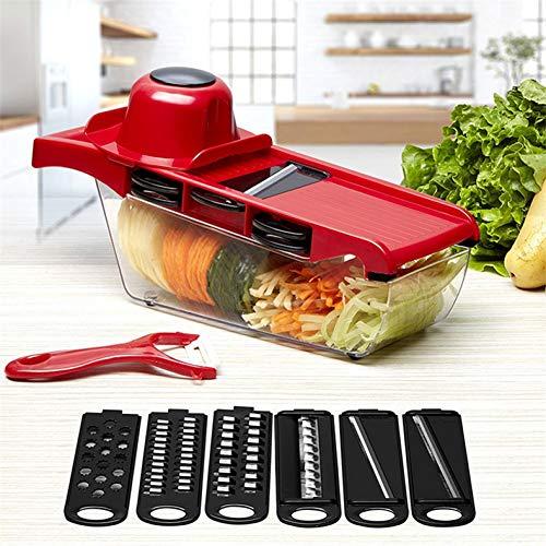 GZOOP Küchenhelfer Gemüseschneider Runde MandolinenschneiderKartoffel Karottenreibe Slicer Mit 3 Edelstahl Chopper Klingen Kitchen Tool
