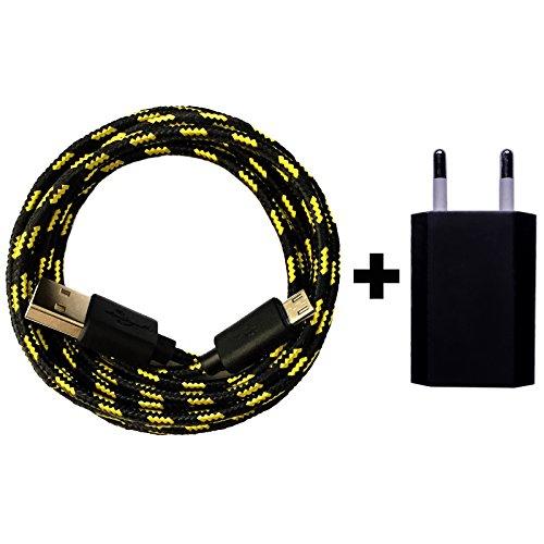 [Premitech®] USB Netzteil 5V/1A + 2m Shiny Nylon Micro USB Ladekabel Datenkabel SET kompatibel mit [Universal, Handy, Tablet, Smartphone, Samsung Galaxy, HTC, Nokia, Sony, LG, Nexus, und viele mehr...] schwarz