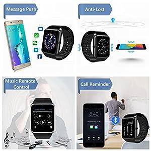 CatShin Smartwatch Android y iOS-Reloj Inteligente Reloj Deportivo Ranura de Tarjeta SIM,Podómetro,Monitor de Calorías,Anti-Pérdida,Twitter, Whatsapp-Reloj Deporte Smart Watch para Hombre-Negro