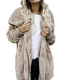 Mujeres largo de piel abrigo con pelo en capucha ,Yannerr invierno acolchado gruesa caliente encapuchados chaqueta sudadera manga larga top jersey capa parka outwear cardigan traje ropa