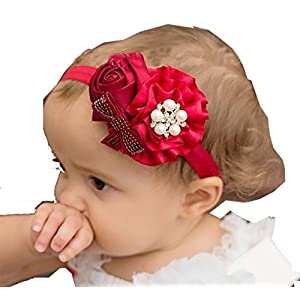 Ziory Red Crown Hairband Headband Baby Girls Toddler Girls Pearl Rose Flower Hair Band Chiffon Lace Headband Ribbon Elasticity Hair Accessories Headwear Best Online Shopping Store