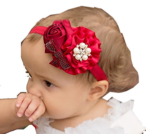 Ziory Fabric Chiffon Pearl Rose Flower Elastic Lace Headband for Baby Girls (Red)