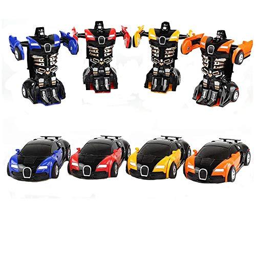 Pveath Roboter-Auto, 4 Stück 2 in 1 Deformation Auto für Kinder Spielzeug Geburtstag (gelb, rot, blau und orange)