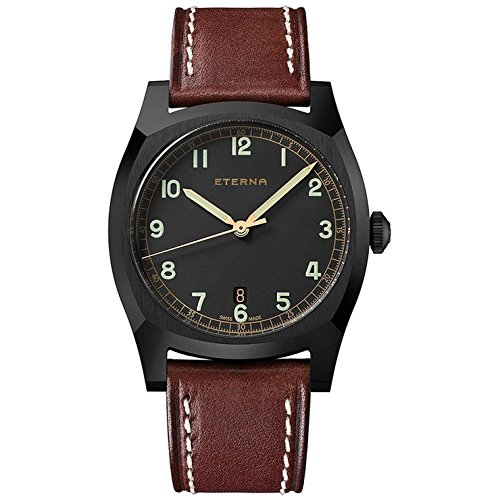Eterna Men's Heritage military Limited Edition 1939 40mm Leather Band Automatic Watch 1939-43-46-1299
