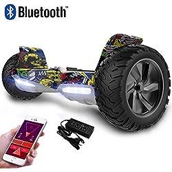 RCB Hoverboard auto-équilibrant Scooter électrique tout terrain 8.5 '' Gyropode Hummer Tout-terrain construit en Bluetooth APP Bluetooth LED avec moteur puissant 2 * 350W