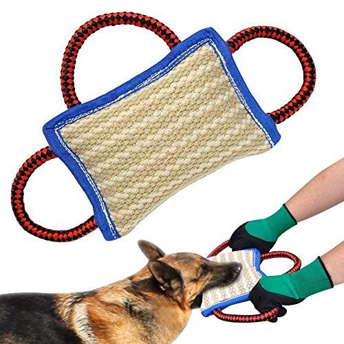 3 Griffe Jute Biss Kissen - 9,8 * 5,9 Zoll - Leinen Schlepper Spielzeug für Junge Hunde