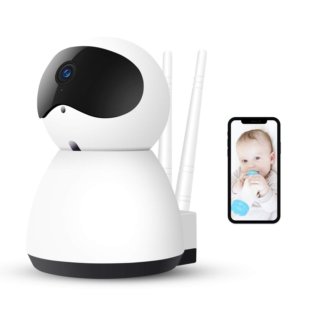 AOGE Baby Monitor with Camera, 1080P HD Security Home Wifi IP Camera with  Two-Way Audio, Night Vision, Motion Detection, Pan/Tilt/Zoom for IOS,