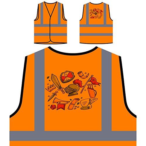 Mittelalterliche Elemente Lustiger Stil Personalisierte High Visibility Orange Sicherheitsjacke Weste r792vo