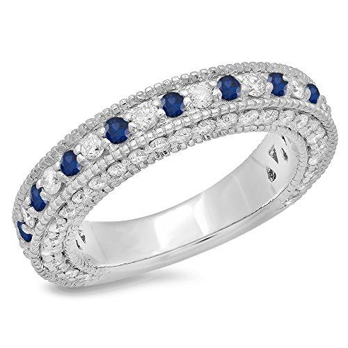 DazzlingRock Collection Damen 14K Gold Blauen Saphir Und Weißen Diamanten Millgrain Jahrestag Hochzeit Stapelbar Band 9