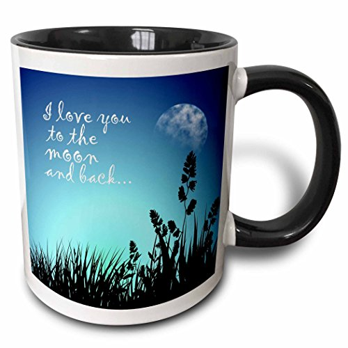 3drose Beautiful Blue Night scene- I Love You To The Moon And Back – Zwei Ton Schwarz Tasse, 313 ml (Tasse 220301 _ 4), 11 Oz, schwarz/weiß