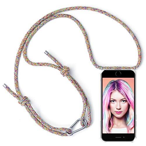 kompatibel mit Apple iPhone 6 / 6S - Smartphone Necklace Hülle mit Band - Schnur mit Case zum umhängen in Rainbow mit Karabinerhaken ()