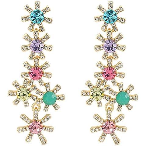 Elequeen De Las Mujeres Del Oro-Tono Cristalino Austríaco Largo De La Flor Del Copo De Nieve Cuelga Los Pendientes Multicolor