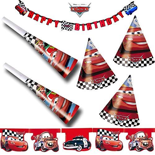 G. Kinder-Party-Set * Cars RED * mit Girlande + Wimpelkette + Hüte + Tröten   Geburtstag Disney Rennautos Auto Kindergeburtstag Motto ()