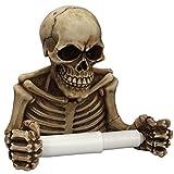 Tête de mort support mural pour rouleau de papier toilette, résine Squelette de salle de bain Décor