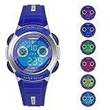 Hiwatch Kinder Armbanduhr, Multifunktionale digitale LED wasserdichte Sportuhr Blau