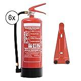 Feuerlöscher 6X 6kg ABC Pulverlöscher DIN EN3 mit Sicherheitsventil inkl. Andris® Prüfnachweis mit Jahresmarke