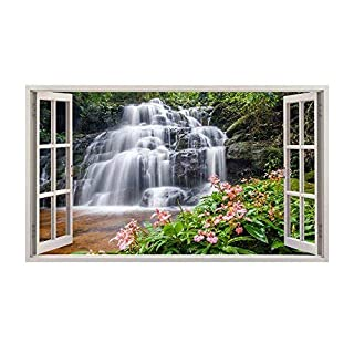 a238 Waterfall Lake Trees Nature Flowers Wall Decal Poster 3D art Stickers Vinyl (Medium (52x30cm))