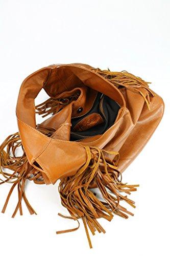 Belli bellissima ® «b» étui sac à shopping en cuir nappa à franges couleur 34 x 23 x 17 cm (l x h x p) Marron - Cognac