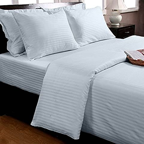 Homescapes 100% Egyptian Cotton Satin Stripe Flat Sheet Blue King Size 330 Thread Count Percale Anti Dust Mite