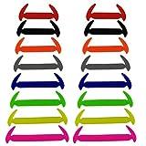 Wealsex schnürsenkel Elastische Silicone Wasserdichte verschiedene Farben 16 Stück Ein Paar(Mehrfarbig)
